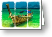 Moored Greeting Cards - Triptych Longboat Greeting Card by Adrian Evans