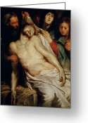 Rubens Painting Greeting Cards - Triptych of Christ on the Straw Greeting Card by Rubens