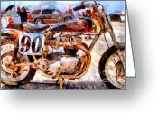 Old Bike Greeting Cards - Triumph Motocycle . Painterly . 7D15318 Greeting Card by Wingsdomain Art and Photography