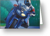 Featured Painting Greeting Cards - Triumph Sprint - Franklin Canyon  Greeting Card by Brian  Commerford