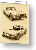 British  Greeting Cards - Triumph Stag Greeting Card by Michael Tompsett