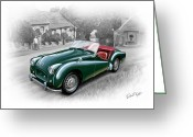 David Kyte Greeting Cards - Triumph TR-2 Sports Car Greeting Card by David Kyte