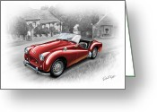 David Kyte Greeting Cards - Triumph TR-2 Sports Car in Red Greeting Card by David Kyte
