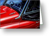 Red Sportscar Greeting Cards - Triumph TR-3 Sports Car Detail Greeting Card by David Kyte