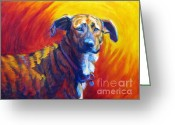 Yellow Dog Greeting Cards - Trixie Greeting Card by Pat Burns