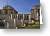 Jardins Greeting Cards - Trocadero and the Palais de Chaillot in Paris Greeting Card by Louise Heusinkveld