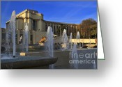 Jardins Greeting Cards - Trocadero fountains in Paris Greeting Card by Louise Heusinkveld