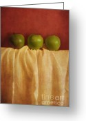 Fabric Greeting Cards - Trois Pommes Greeting Card by Priska Wettstein