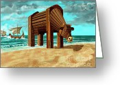 Trojan Greeting Cards - Trojan Cow Greeting Card by Russell Kightley