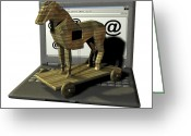 Trojan Greeting Cards - Trojan Horse, Computer Artwork Greeting Card by Friedrich Saurer