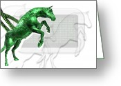 Trojan Greeting Cards - Trojan Horse, Conceptual Artwork Greeting Card by Victor Habbick Visions