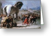 Trojan Greeting Cards - Trojan Horse Greeting Card by Granger