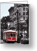 Old Street Greeting Cards - Trolley on Bourbon and Canal  Greeting Card by Tammy Wetzel