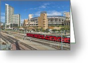 Gaslamp District Greeting Cards - Trolley To Petco Park Greeting Card by Alan Crosthwaite