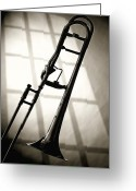 Office Art Greeting Cards - Trombone Silhouette and Window Greeting Card by M K  Miller