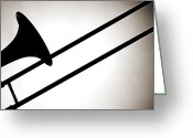 Black And White Canvas Greeting Cards - Trombone Silhouette Isolated Greeting Card by M K  Miller