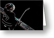 Vintage Hockey Player Greeting Cards - Tron Hockey - 1 Greeting Card by Tya Kottler