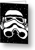 Tribute Greeting Cards - Trooper on Starry Sky Greeting Card by Jera Sky