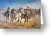 Sprinting Greeting Cards - Troopers Moving Greeting Card by Frederic Remington