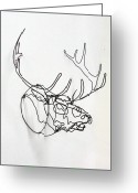 Lines Sculpture Greeting Cards - Trophy Elk Greeting Card by Bud Bullivant