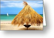 Sun Umbrella Greeting Cards - Tropical beach Greeting Card by Elena Elisseeva