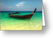 Ribbons Greeting Cards - Tropical Boat Greeting Card by Adrian Evans