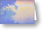Stylized Art Greeting Cards - tropical boat Dock Sunset large pop art nouveau retro 80s 1980s florida landscape seascape painting Greeting Card by Walt Curlee