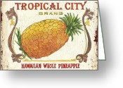 Tropical Fruits Greeting Cards - Tropical City Pineapple Greeting Card by Debbie DeWitt