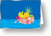 Mango Digital Art Greeting Cards - Tropical Flowers With Fruits On Waves Greeting Card by Meg Takamura