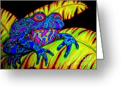 Frog Art Greeting Cards - Tropical Frog Greeting Card by Nick Gustafson