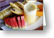 Papaya Greeting Cards - Tropical Fruit Breakfast Greeting Card by Kantilal Patel