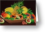Papaya Greeting Cards - Tropical Fruits Greeting Card by James  Mingo