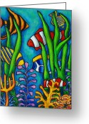 Clown Fish Greeting Cards - Tropical Gems Greeting Card by Lisa  Lorenz