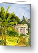 Caribbean Homes Greeting Cards - Tropical Haven Greeting Card by Richard Jules