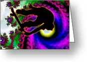 Skate Board Boarding Boarder Skateboarding Greeting Cards - Tropical Hurricane Eye with Skateboarder Greeting Card by Elaine Plesser