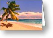 Mediterranian Greeting Cards - Tropical Island 6 - Painterly Greeting Card by Wingsdomain Art and Photography