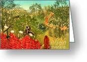 Storm Prints Painting Greeting Cards - Tropical Jungle by Henri Rousseau Greeting Card by Pg Reproductions