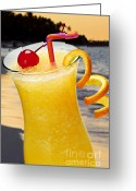 Orange Greeting Cards - Tropical orange drink Greeting Card by Elena Elisseeva