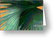 Orange And Green Greeting Cards - Tropical Palm Grand Cayman Greeting Card by Ann Powell