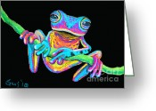 Amphibians Greeting Cards - Tropical Rainbow frog on a vine Greeting Card by Nick Gustafson