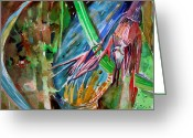 Glass Drawings Greeting Cards - Tropical Reflections Greeting Card by Mindy Newman