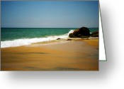 Indian Yellow Greeting Cards - Tropical sandy beach Greeting Card by Jasna Buncic