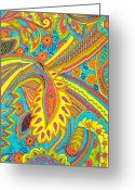 Abstract Design Drawings Greeting Cards - Tropical sizzle Greeting Card by Ramneek Narang