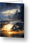 Jardin Greeting Cards - Tropical Sunset Greeting Card by Fabrizio Troiani