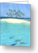 Tropical Island Pastels Greeting Cards - Tropical Tranquility  Greeting Card by Jackie Novak