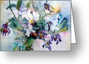 Iris Art Mixed Media Greeting Cards - Tropical White Orchids Greeting Card by Mindy Newman