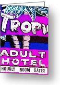 Welcome Signs Greeting Cards - Tropicana Adult Hotel Greeting Card by Wingsdomain Art and Photography