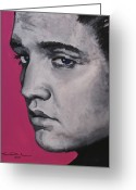 Elvis Presley Greeting Cards - Trouble - Born Standing Up Greeting Card by Eric Dee