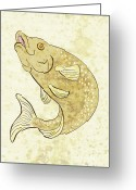Jumping Digital Art Greeting Cards - Trout Fish Jumping Greeting Card by Aloysius Patrimonio
