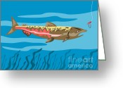 Trout Digital Art Greeting Cards - Trout Fish Retro Greeting Card by Aloysius Patrimonio